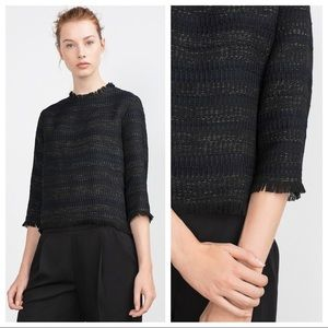 Zara tweed and fringe boxy 3/4-sleeve top S